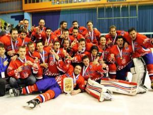 Jubelnde Kroaten bei der U20 WM Div. II 2012 - © by Eishockey-Magazin (DR)