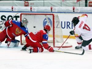 Der Schweizer Auguste Impose trifft doppelt gegen Russland - © by Eishockey-Magazin (DR)