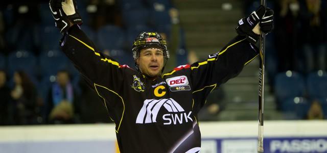 Kapitän Herberts Vasiljevs bestreitet am Sonntag  sein letztes Spiel für die Krefeld Pinguine