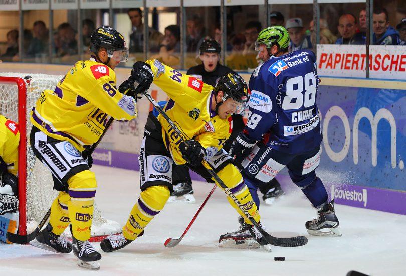 Zweikampf zwischen Jack Combs und Nich St. Pierre. DEL: Iserlohn Rooster vs. Krefeld Pinguine Copyright: Jan Brueggemann, Eishockey Magazin