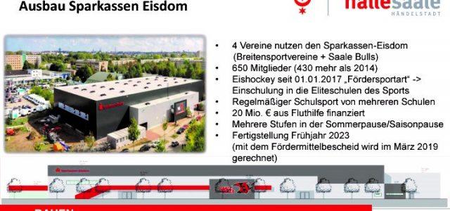 Saale Bulls Halle: Eisdom wird ausgebaut – Stadt Halle erhält Fördermittelbescheid